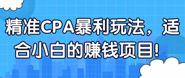 副业项目《CPA暴利项目,零基础小白可上手项目》